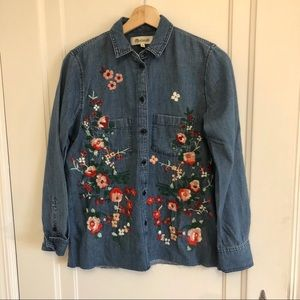 Madewell Embroidered Denim Button Down